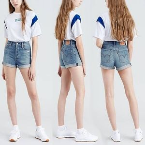 Levi's Wedgie Fit High Rise Denim Jean Shorts